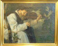 "Oskar Graf: ""Geigespielender Mönch"" Expressives Gemälde, signiert"