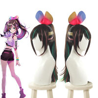 A.I.Channel Anchor Kizuna Ai YouTuber Ponytail Cosplay Wig Rainbow Wig Halloween