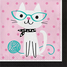 PET PARTY Purr-fect LUNCH NAPKINS (16) ~ Birthday Supplies Serviettes Kitten
