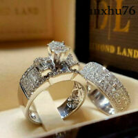 New 2pcs/set White Sapphire 925 Silver Ring Women Wedding Bridal Jewelry