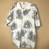 Lacoste Mens Collar Cream Floral Short Sleeve Polo Golf Shirt Size XL