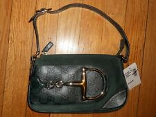 GUCCI Horsebit GG Guccissima Monogram Suede Leather Small Hand Bag Green $1290