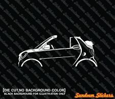 2x car silhouette stickers - for Smart Fortwo cabrio / convertible W453 (2015-)