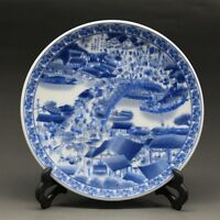 Chinese Blue and white Porcelain painted Qingming scroll Plate Qianlong Mark