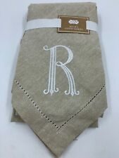 """Mud Pie Napkins Cotton 20"""" Square Monogrammed R Embroidered Table Decor READ"""