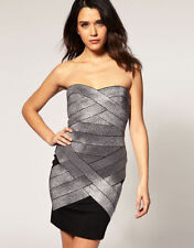 LIPSY LONDON Rockstar Black Metallic Silver Bandage Dress!