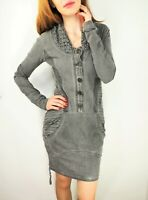 ANGELS NEVER DIE Long Sleeve Ash Gray Stretch Jersey Thick Cotton Dress size S