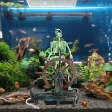 Pirate Captain Aquarium Ornament Skeleton on Wheel Action-Air Fish Tank Decor