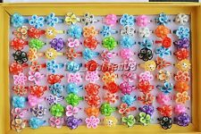 FREE wholesale Lots 10Pcs Assorted Flower FIMO Polymer Clay Children's Rings A+