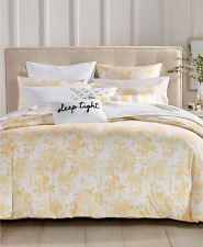 Charter Club Watercolor Leaf 300 Tc 3 pc Full/Queen Duvet Cover Set Yellow $170