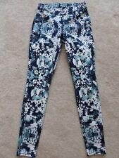 Women's Hue Floral Leggings Pants Stretch Blue White Gray Small S EUC