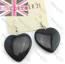 RETRO 28mm BIG GLASS HEART EARRINGS black EMO GOTH ROCK KITSCH vintage silver pl