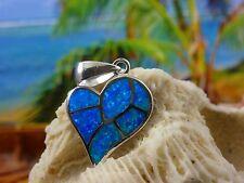 BEAUTIFUL STERLING SILVER BLUE FIRE OPAL HEART SLIDE PENDANT
