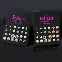 12 Pairs Women Girl Fashion Pearl Crystal Heart Stud Triangle Earring Jewelry