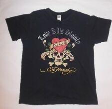 "ED HARDY MENS BLACK T SHIRT ""LOVE KILLS SLOWLY"" HEART SKULL ED HARDY EUC SIZE L"