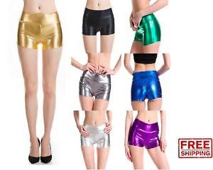Metallic Shorts Pants Hot Sparkly Shiny Shorts with Elastic Cord Free Shipping
