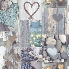 Rústico Corazón Papel pintado Rollos - Natural - Arthouse 669600