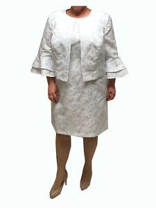 Danillo Plus Size Floral Jacquard Bell Sleeves 2-Piece Dress Suit