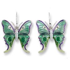 Zarah Zarlite Butterfly Green Enamel with Green Onyx Pierced Earrings w/Gift Box