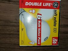 6 GE Incandescent 100W Light Bulbs Double Life Soft White A19 New