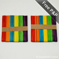 Coloured Wooden Lolly Sticks for Ice Lollipops Craft Models Plant Labels-2 Sizes