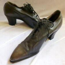 Vintage 1920s Black Leather Lace-Up Shoes Heels Size 5 1/2