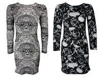 NEW WOMENS BLACK WHITE SKULL ROSE PRINT LONG SLEEVED SCOOP NECK BODYCON DRESS