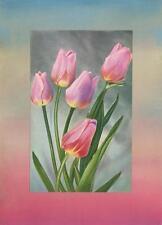 VINTAGE PINK TULIPS FLOWERS BOTANICAL COLLAGE PICTURE ART PRINT ORGINAL PASTELS