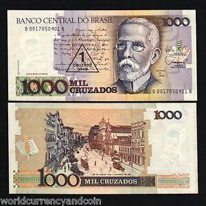 BRAZIL 1 on 1000 CRUZADOS P216 1989 x 100 Pcs Lot Full BUNDLE RIO UNC MONEY NOTE