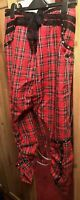 Living Dead Souls Punk Red bondage Tartan Trousers Size Small-chains.,zips,strap