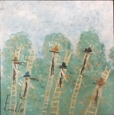 "Ernest Lee Signed Folk Art Painting  ""Orange Pickers"" 1996, Acrylic On Board"