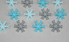 12 Blue Gray Frozen Snow Flakes Cup Cake Rings Toppers Winter Party Favor Supply