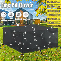 Patio Square Fire Pit Cover Waterproof UV Protector Grill BBQ Cover Oxford Cloth