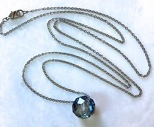 "Teal Crystal Necklace--Iridescent Oval Faceted Bead on 27"" Stainless Steel Chain"