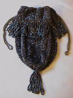 Antique Art Deco Brown Crochet Iridescent Cholate Bead Drawstring Flapper Purse