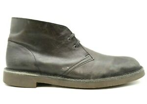 Clarks Gray Leather Casual Lace Up Chukka Ankle Boots Shoes Men's 12 M