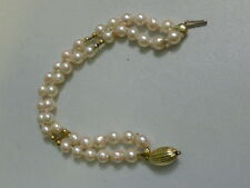 Vintage 14K Yellow Gold Double Strand Bracelet - Pink Baroque Pearls