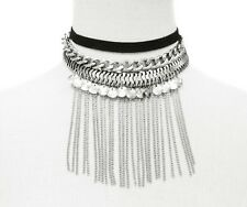Adjustable Multilayer Silver Tone Choker Necklace with Dangling Chains