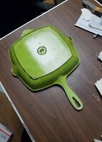"Le Creuset France Green Enameled Cast Iron Square Skillet Grill Pan 10 1/4"" # 26"
