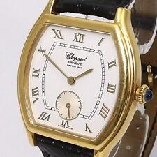 Chopard Geneve Tonneau Herren Uhr Handaufzug 750er/18 Karat Gold Lederarmband