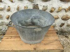 Ancienne bassine lessiveuse en zinc vintage pot de fleur jardinière terrasse