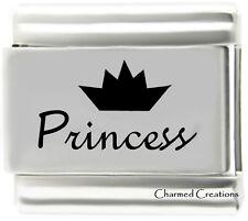 Princess 9mm Italian Charm Laser Etched Stainless Steel Modular Link Tiara Crown