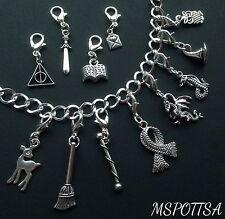12pcs Harry Potter Bracelet Clip Ons Charms Zipper Pulls Silver Deathly Hallows