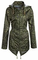 New Ladies Leopard Print Fishtail Parka Hooded Polyester Raincoats 18-24