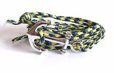 Bracelet corde bleu et jaune ancre de marin