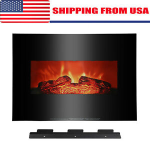 """26"""" Wall Mounted Electric Fireplace Fake Wood Realistic Flames Heater 750W/1400W"""