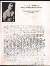 1929 Body Builder Muscleman Earle E Liederman Physical Education NY Letter Head