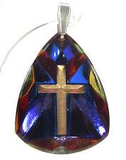 Anhänger Kreuz gold vintage handgemachtes Glas 1960er Jahre heliotrope blau lila