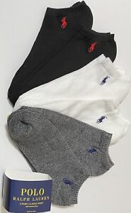 Polo Ralph Lauren Men's Athletic 6-Pair  Low Cut Socks Gray/White/Black