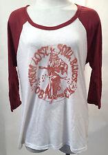 Obey Women's Baseball T-Shirt Them Lost Soul Blues White SM NEW Skeleton Guitar